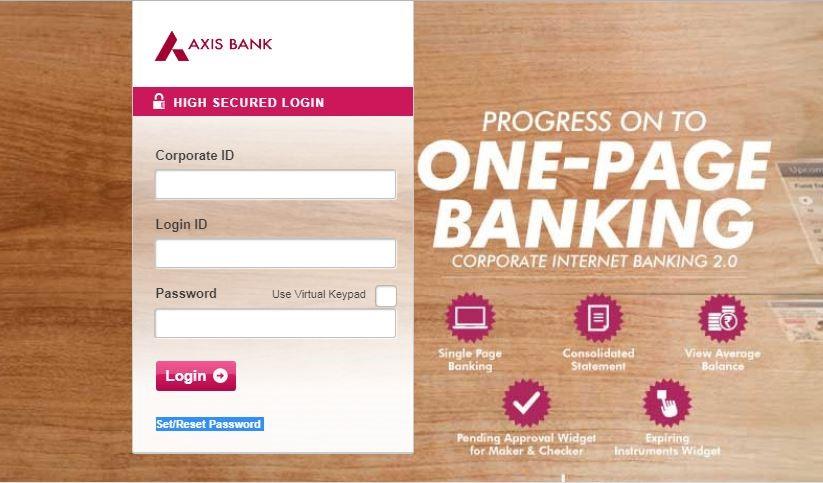 Axis Bank Corporate Login