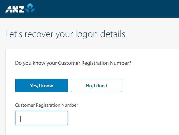 ANZ Internet Banking Password Reset