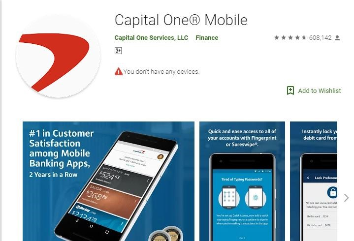 Capital One Online Bank Login via Android Phone
