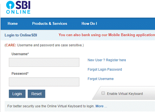 State Bank of India Online Login