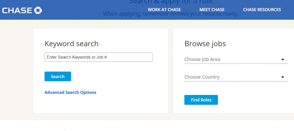 Chase Bank Careers Login