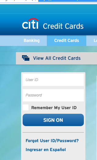Citibank Credit Card sign in