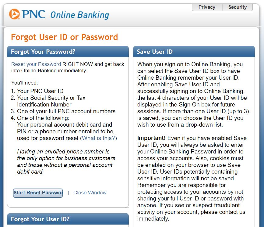 PNC Online Banking Login and Reset