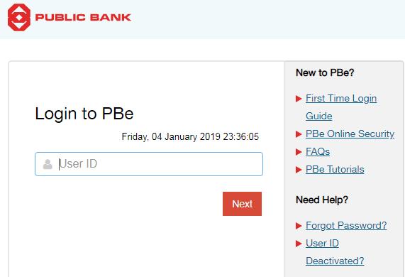 Public Bank Berhad Login